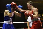 10 February 2017; Brendan Irvine, right, of St Pauls, Antrim, exchanges punches with TJ Waite, of Ormeau Road BC, during their 52kg bout during the 2016 IABA Elite Boxing Championships at the National Stadium in Dublin. Photo by David Maher/Sportsfile