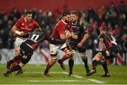 10 February 2017; Jean Kleyn of Munster is tackled by Pat Howard and Tavis Knoyle of Newport Gwent Dragons during the Guinness PRO12 Round 14 match between Munster and Newport Gwent Dragons at Irish Independent Park in Cork. Photo by Diarmuid Greene/Sportsfile
