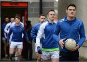 11 February 2017; Diarmuid Connolly of St Vincent's leads his team out to warm-up prior to the AIB GAA Football All-Ireland Senior Club Championship semi-final match between Slaughtneil and St Vincent's at Páirc Esler in Newry. Photo by Seb Daly/Sportsfile