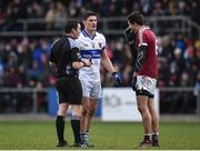 11 February 2017; Referee Paddy Neilan talks to Diarmuid Connolly of St Vincent's and Christopher McKaigue of Slaughtneil during the AIB GAA Football All-Ireland Senior Club Championship semi-final match between Slaughtneil and St Vincent's at Páirc Esler in Newry. Photo by Seb Daly/Sportsfile