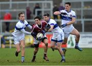 11 February 2017; Christopher McKaigue of Slaughtneil in action against Caichael Concarr and Diarmuid Connolly of St Vincent's during the AIB GAA Football All-Ireland Senior Club Championship semi-final match between Slaughtneil and St Vincent's at Páirc Esler in Newry. Photo by Oliver McVeigh/Sportsfile