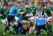 11 February 2017; Jamie Heaslip of Ireland is tackled by Sergio Parisse, 8, Andrea Lovotti and Maxime Mbanda of Italy during the RBS Six Nations Rugby Championship match between Italy and Ireland at the Stadio Olimpico in Rome, Italy. Photo by Stephen McCarthy/Sportsfile