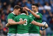 11 February 2017; Craig Gilroy, 23, of Ireland is congratulated by Garry Ringrose, left, and Conor Murray after scoring his side's sixth try during the RBS Six Nations Rugby Championship match between Italy and Ireland at the Stadio Olimpico in Rome, Italy. Photo by Ramsey Cardy/Sportsfile