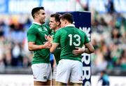 11 February 2017; Craig Gilroy of Ireland is congratulated by team-mates Conor Murray, left, and Garry Ringrose, 13, after scoring his side's sixth try during the RBS Six Nations Rugby Championship match between Italy and Ireland at the Stadio Olimpico in Rome, Italy. Photo by Stephen McCarthy/Sportsfile