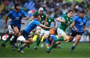 11 February 2017; Garry Ringrose of Ireland escapes the tackle of Giorgio Bronzini of Italy on his way to scoring his side's seventh try during the RBS Six Nations Rugby Championship match between Italy and Ireland at the Stadio Olimpico in Rome, Italy. Photo by Stephen McCarthy/Sportsfile