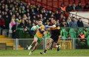 11 February 2017; Dylan Wall of Corofin in action against Ambrose O'Donovan of Dr. Crokes during the AIB GAA Football All-Ireland Senior Club Championship semi-final match between Corofin and Dr. Crokes at Gaelic Grounds in Limerick. Photo by Eóin Noonan/Sportsfile