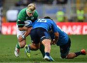 11 February 2017; James Tracy of Ireland is tackled by Ornel Gega, left, and Maxime Mbanda of Italy during the RBS Six Nations Rugby Championship match between Italy and Ireland at the Stadio Olimpico in Rome, Italy. Photo by Ramsey Cardy/Sportsfile