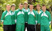 11 July 2011; Members of the Irish squad who will compete in athletics, from left, Sean Tobin, 3000m, Ben Kiely, 400m, Marcus Lawler, 200m, Matthew Martin, Javelin, Karl Griffin, 800m, Greg O'Shea, 100m, and Ruairi Finnegan, 1500m, as the team get together for final preparations ahead of the European Youth Olympic Festival. The Olympic Council of Ireland will be sending the largest team ever, in excess of 60 athletes will compete in 5 sports, Athletics, Cycling, Gymnastics, Swimming and Tennis with a realistic hope of medal success. The European Youth Olympic Festival will take place from the 23rd to the 29th July in Trabzon, Turkey and is a stepping stone for athletes to compete in the Summer Olympic Games in future years. Irish Team for European Youth Olympic Festival, Howth, Dublin. Picture credit: Brendan Moran / SPORTSFILE
