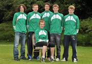 11 July 2011; Members of the Irish squad who will compete in swimming, from left, Sean O'Brien, 200m Individual medley, from Donabate, Dublin, Brendan Gibbons, 1500m freestyle, from Athlone, Co. Westmeath, Brian O'Sullivan, 100m backstroke, 100m and 50m freestyle, from Castleisland, Co. Kerry, David O'Sullivan, 200 and 100m butterfly, from Galway, and Luke Fitzgibbon, 200m backstroke, from New Ross, Co. Wexford, and Clodagh Flood, 200m butterfly, from Knocklyon, Dublin, as the team get together for final preparations ahead of the European Youth Olympic Festival. The Olympic Council of Ireland will be sending the largest team ever, in excess of 60 athletes will compete in 5 sports, Athletics, Cycling, Gymnastics, Swimming and Tennis with a realistic hope of medal success. The European Youth Olympic Festival will take place from the 23rd to the 29th July in Trabzon, Turkey and is a stepping stone for athletes to compete in the Summer Olympic Games in future years. Irish Team for European Youth Olympic Festival, Howth, Dublin. Picture credit: Brendan Moran / SPORTSFILE