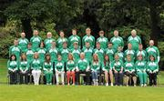 11 July 2011; Members of the Irish squad, back row, from left, John May, athletics team assistant manager, Martin O'Loughlin, cycling coach, Vincent O'Connor, cycling manager, Greg O'Shea, athletics - 100m, Brian O'Sullivan, swimming - 100m backstroke, 100m and 50m freestyle, Matthew Martin, athletics - javelin, Robert Dudley, tennis, Dr. Rod McLoughlin, team doctor, John McGrath, athletics coach, , centre, row, from left, Marcus Lawler, athletics - 200m, Jason Prendergast, cycling, Sean O'Brien, swimming - 200m individual medley, Karl Griffin, athletics - 800m, Ben Kiely, athletics - 400m, Luke Fitzgibbon, swimming - 200m backstroke, Brendan Gibbons, swimming - 1500m freestyle, David O'Sullivan, swimming - 200m and 100m butterfly, Mark Downey, cycling, Eddie Dunbar, cycling, and Martin Burke, Olympic Council of Ireland, with front, from left, Mary Murray, gymnastics judge, Eimear O'Leary, physio, Sarah Lavin, athletics - 100m hurdles, Megan Kiely, athletics - 400m hurdles, Síofra Cleirigh Buttner, athletics - 1500m, Aisling Croke, high jump, Tom Rafter, Chef de Mission, Amy O'Donoghue, athletics - 800m, Grainne Moynihan, athletics - 400m, Ciara Giles Doran, athletics - 200m, Clodagh Flood, swimming, - 200m butterfly, Bernie Alcorn, athletics team manager, and Karen Kirk, athletics coach, pictured as the team get together for final preparations ahead of the European Youth Olympic Festival. The Olympic Council of Ireland will be sending the largest team ever, in excess of 60 athletes will compete in 5 sports, Athletics, Cycling, Gymnastics, Swimming and Tennis with a realistic hope of medal success. The European Youth Olympic Festival will take place from the 23rd to the 29th July in Trabzon, Turkey and is a stepping stone for athletes to compete in the Summer Olympic Games in future years. Irish Team for European Youth Olympic Festival, Howth, Dublin. Picture credit: Brendan Moran / SPORTSFILE