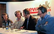 11 July 2011; Former Mayo footballer David Brady, centre, being interviewed by Eoin McDevitt, left, alongside former Rsocommon footballer Sheamus Hayden, and Shane Curran, right, during Newstalk 106-108 fm's Off the Ball live broadcast of Ireland's most popular sports radio show 'Off the Ball' in Ballaghaderren on Monday, July 11th. The live broadcast is part of the 'Off the Ball Roadshow with Ulster Bank' which gives people an opportunity to see the hit show broadcast live from popular GAA haunts across the country throughout the 2011 All-Ireland Senior Championships. Ulster Bank is also celebrating its three-year extended sponsorship of the GAA Football All-Ireland Championship with the introduction of a major new club focused initiative, called 'Ulster Bank GAA Force'. The initiative will support local GAA clubs across the country by giving them the opportunity to refurbish and upgrade their facilities. For further information, checkout www.ulsterbank.com/gaa. Off the Ball Roadshow with Ulster Bank, Lir Café Bar, Market Street, Ballaghaderren, Co. Roscommon. Picture credit: Barry Cregg / SPORTSFILE