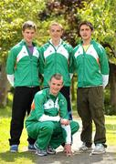 11 July 2011; Members of the Irish squad, who will take part in the Boys 4x100m relay, clockwise, from left, ben Kiely, Karl Griffin, Greg O'Shea and Marcus Lawler, as the team get together for final preparations ahead of the European Youth Olympic Festival. The Olympic Council of Ireland will be sending the largest team ever, in excess of 60 athletes will compete in 5 sports, Athletics, Cycling, Gymnastics, Swimming and Tennis with a realistic hope of medal success. The European Youth Olympic Festival will take place from the 23rd to the 29th July in Trabzon, Turkey and is a stepping stone for athletes to compete in the Summer Olympic Games in future years. Irish Team for European Youth Olympic Festival, Howth, Dublin. Picture credit: Brendan Moran / SPORTSFILE