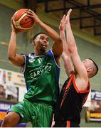 11 February 2017; Trae Pemberton of Garvey's Tralee Warriors in action against Paddy Sullivan of Pyrobel Killester during the Basketball Ireland Super League game between Garvey's Tralee Warriors and Pyrobel Killester at Tralee Sports Complex in Tralee, Co. Kerry. Photo by Brendan Moran/Sportsfile