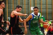 11 February 2017; Trae Pemberton of Garvey's Tralee Warriors in action against Peder Madsen of Pyrobel Killester during the Basketball Ireland Super League game between Garvey's Tralee Warriors and Pyrobel Killester at Tralee Sports Complex in Tralee, Co. Kerry. Photo by Brendan Moran/Sportsfile