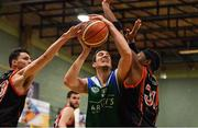 11 February 2017; Dusan Bogdanovic of Garvey's Tralee Warriors in action against Eoghain Kiernan, left, and Jermaine Turner of Pyrobel Killester during the Basketball Ireland Super League game between Garvey's Tralee Warriors and Pyrobel Killester at Tralee Sports Complex in Tralee, Co. Kerry. Photo by Brendan Moran/Sportsfile