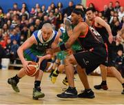 11 February 2017; Kieran Donaghy of Garvey's Tralee Warriors in action against Jermaine Turner of Pyrobel Killester during the Basketball Ireland Super League game between Garvey's Tralee Warriors and Pyrobel Killester at Tralee Sports Complex in Tralee, Co. Kerry. Photo by Brendan Moran/Sportsfile