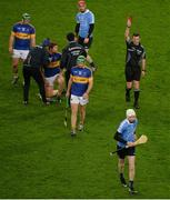 11 February 2017; Referee Paud O'Dwyer show Shane Barrett of Dublin a red card during the Allianz Hurling League Division 1A Round 1 match between Dublin and Tipperary at Croke Park in Dublin. Photo by Daire Brennan/Sportsfile