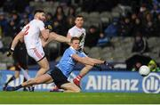 11 February 2017; Pádraig Hampsey of Tyrone has his shot charged down by Paul Mannion of Dublin during the Allianz Football League Division 1 Round 2 match between Dublin and Tyrone at Croke Park in Dublin. Photo by Sam Barnes/Sportsfile