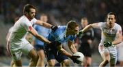 11 February 2017; Eoghan O'Gara of Dublin in action against Ronan McNamee, left, and Colm Cavanagh of Tyrone during the Allianz Football League Division 1 Round 2 match between Dublin and Tyrone at Croke Park in Dublin. Photo by Daire Brennan/Sportsfile