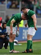 11 February 2017; Cian Healy passes on instructions to Niall Scannell of Ireland during the RBS Six Nations Rugby Championship match between Italy and Ireland at the Stadio Olimpico in Rome, Italy. Photo by Ramsey Cardy/Sportsfile