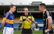 12 February 2017; Referee Niall Ward with captains Brian Fox of Tipperary, left, and Neil Ewing of Sligo during the coin toss prior to the Allianz Football League Division 3 Round 2 game between Tipperary and Sligo at Semple Stadium in Thurles, Co. Tipperary. Photo by Seb Daly/Sportsfile