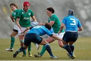 12 February 2017; Lindsay Peat of Ireland offloads the ball to Elaine Anthony during the RBS Women's Six Nations Rugby Championship game between Italy and Ireland at Stadio Tommaso Fattori in L'Aquila, Italy. Photo by Roberto Bregani/Sportsfile