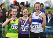 12 February 2017; Winner of the Girls under-13 1500m Claragh Keane of Murrintown Co Wexford with second place Niamh Carolan, left, of North Leitrim AC and third place Aoife McCormack, right, from Dunboyne AC Co Meath during the Irish Life Health National Masters & Juvenile B XC Championships at Waterford I.T. in Waterford. Photo by Matt Browne/Sportsfile