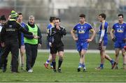 12 February 2017; Referee Derek O'Mahoney with both managers, Kevin McStay of Roscommon and Rory Gallagher, left, of Donegal at the end of the Allianz Football League Division 1 Round 2 game between Roscommon and Donegal at Dr. Hyde Park in Roscommon. Photo by David Maher/Sportsfile