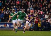 12 February 2017; Lee Chin of Wexford in action against Diarmaid Byrnes of Limerick during the Allianz Hurling League Division 1B Round 1 game between Wexford and Limerick at Innovate Wexford Park in Wexford. Photo by Daire Brennan/Sportsfile