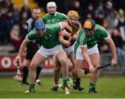12 February 2017; James Ryan, right, and Ritchie McCarthy of Limerick in action against David Redmond of Wexford during the Allianz Hurling League Division 1B Round 1 game between Wexford and Limerick at Innovate Wexford Park in Wexford. Photo by Daire Brennan/Sportsfile