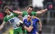 12 February 2017; Thomas Featherston of Roscommon in action against Eoghan Ban Gallagher, left, and Michael Murphy of Donegal during the Allianz Football League Division 1 Round 2 game between Roscommon and Donegal at Dr. Hyde Park in Roscommon. Photo by David Maher/Sportsfile