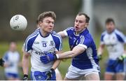 12 February 2017; Conor McCarthy of Monaghan in action against Martin Reilly of Cavan during the Allianz Football League Division 1 Round 2 game between Monaghan and Cavan at St. Mary's Park in Castleblayney, Co. Monaghan. Photo by Philip Fitzpatrick/Sportsfile