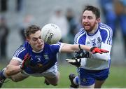 12 February 2017; Owen Duffy of Monaghan in action against Padraig Faulkner of Cavan during the Allianz Football League Division 1 Round 2 game between Monaghan and Cavan at St. Mary's Park in Castleblayney, Co. Monaghan. Photo by Philip Fitzpatrick/Sportsfile