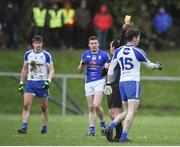 12 February 2017; Conor McManus of Monaghan receiving a yellow card from referee David Goldrick during the Allianz Football League Division 1 Round 2 game between Monaghan and Cavan at St. Mary's Park in Castleblayney, Co. Monaghan. Photo by Philip Fitzpatrick/Sportsfile