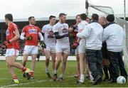 12 February 2017; Players from Kildare and Cork tussle before referee Cormac Reilly awarded a goal to Cork during the Allianz Football League Division 2 Round 2 game between Kildare and Cork at St Conleth's Park in Newbridge, Co. Kildare. Photo by Piaras Ó Mídheach/Sportsfile