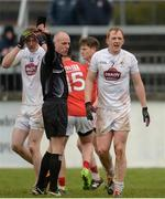 12 February 2017; Referee Cormac Reilly shows the black card to Keith Cribbin of Kildare, right, during the Allianz Football League Division 2 Round 2 game between Kildare and Cork at St Conleth's Park in Newbridge, Co. Kildare. Photo by Piaras Ó Mídheach/Sportsfile