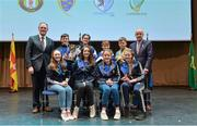 11 February 2017; The St Dominic's team, representing Roscommon and Connacht, who won the Léiriú Stáitse competition, back row, from left, Shane Murphy, Áine Keenan, Karol Feerick and Lorcan McPhillips. Front row, from left, Zoe Finan, Dearbhla McCormack, Courtney Kelly and Ina Van Opstal are presented with their medals and trophy by Antóin Mac Gabhann, Cathaoirleach Coiste Naisiúnta Scór, left, and Michael Hasson, Uachtarán Comhairle Uladh, at the Scór na nÓg Final 2017 at Waterfront Hotel in Belfast, Antrim. Photo by Piaras Ó Mídheach/Sportsfile