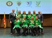11 February 2017; The St Killian's GAC, Whitecross, team, representing Armagh and Ulster, who won the Rince Foirne competition, back row, from left, Cailíosa Ní Dhúill, Lara McKevitt, Sarah Gahan and Amy O'Callaghan. Front row, from left, Ciara McCann, Eimear O'Hanlon, Orlagh McKenna and Siofra McGuinness are presented with their medals and trophy by Antóin Mac Gabhann, Cathaoirleach Coiste Naisiúnta Scór, left, and Michael Hasson, Uachtarán Comhairle Uladh, at the Scór na nÓg Final 2017 at Waterfront Hotel in Belfast, Antrim. Photo by Piaras Ó Mídheach/Sportsfile