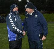 12 February 2017; Monaghan manager Malachy O'Rourke and Cavan manager Mattie McGleenan shake hands after the Allianz Football League Division 1 Round 2 game between Monaghan and Cavan at St. Mary's Park in Castleblayney, Co. Monaghan. Photo by Philip Fitzpatrick/Sportsfile