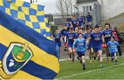 12 February 2017; The Roscommon team run out from their dressing room before the start of the Allianz Football League Division 1 Round 2 game between Roscommon and Donegal at Dr. Hyde Park in Roscommon. Photo by David Maher/Sportsfile