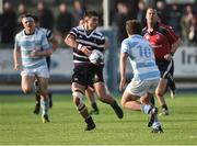 13 February 2017; Dominic Henry Hayes of Terenure College in action against Peter O'Reilly of Blackrock during the Blackrock College and Terenure College Bank of Ireland Leinster Schools Senior Cup second round match at Donnybrook Stadium, Donnybrook, in Dublin. Photo by David Maher/Sportsfile
