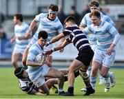 13 February 2017; Ross Deegan of Blackrock College is tackled by Harry O'Neill and Dominc Henry Hayes of Terenure College during the Blackrock College and Terenure College Bank of Ireland Leinster Schools Senior Cup second round match at Donnybrook Stadium, Donnybrook, in Dublin. Photo by David Maher/Sportsfile