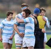 13 February 2017; Tom Roche, right and Andrew Murphy of Blackrock College celebrate at the end of the Blackrock College and Terenure College Bank of Ireland Leinster Schools Senior Cup second round match at Donnybrook Stadium, Donnybrook, in Dublin. Photo by David Maher/Sportsfile