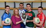 14 February 2017; In attendance at the launch of the 2017 EirGrid GAA Football Under 21 All-Ireland Championship, are from left, Cillian O'Shea of Dublin, Rosemary Steen, EirGrid Director of External Affairs, Mikey Murnaghan of Monaghan, Brian Reape of Mayo and Sean O'Donoghue of Cork. EirGrid, the state-owned company that manages and develops Ireland's electricity grid, enters its third year of sponsorship of this competition. It has a programme of activity, including the introduction of the EirGrid player of the provincial championship, planned to promote the Championship and recognise the talent on display at this grade. #EirGridGAA Photo by Brendan Moran/Sportsfile