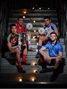 14 February 2017; In attendance at the launch of the 2017 EirGrid GAA Football Under 21 All-Ireland Championship, are from left, Brian Reape of Mayo, Sean O'Donoghue of Cork, Mikey Murnaghan of Monaghan and Cillian O'Shea of Dublin. EirGrid, the state-owned company that manages and develops Ireland's electricity grid, enters its third year of sponsorship of this competition. It has a programme of activity, including the introduction of the EirGrid player of the provincial championship, planned to promote the Championship and recognise the talent on display at this grade. #EirGridGAA Photo by Brendan Moran/Sportsfile