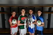 14 February 2017; In attendance at the launch of the 2017 EirGrid GAA Football Under 21 All-Ireland Championship, are from left, Sean O'Donoghue of Cork, Brian Reape of Mayo, Mikey Murnaghan of Monaghan and Cillian O'Shea of Dublin. EirGrid, the state-owned company that manages and develops Ireland's electricity grid, enters its third year of sponsorship of this competition. It has a programme of activity, including the introduction of the EirGrid player of the provincial championship, planned to promote the Championship and recognise the talent on display at this grade. #EirGridGAA Photo by Brendan Moran/Sportsfile