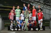 14 February 2017; Players, from left to right, Aaron McEneff, Derry City, Colm Horgan, Galway United, Ronan Finn, Shamrock Rovers, Johnny Barrett, Finn Harps, Stephen O'Donnell, Dundalk FC, Dave O'Connor, Limerick FC, Dinny Corcoran, Bohemian FC, Steven Beattie, Cork City, Richard Purdy, Drogheda United, Ian Bermingham, St. Patrick's Athletic, Conor Kenna, Bray Wanderers and Craig Rodden, Sligo Rovers, in attendance at the SSE Airtricity League Launch 2017 at the Aviva Stadium in Lansdowne Road in Dublin. Photo by David Maher/Sportsfile