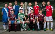 14 February 2017; Players, from left to right, Johnny Barrett, Finn Harps, Aaron McEneff, Derry City, Richard Purdy, Drogheda United, Dave O'Connor, Limerick FC, Ronan Finn, Shamrock Rovers, Stephen O'Donnell, Dundalk FC, Dinny Corcoran, Bohemian FC, Steven Beattie, Cork City, Ian Bermingham, St. Patrick's Athletic, Colm Horgan, Galway United, Conor Kenna, Bray Wanderers and Craig Rodden, Sligo Rovers, in attendance at the SSE Airtricity League Launch 2017 at the Aviva Stadium in Lansdowne Road in Dublin. Photo by David Maher/Sportsfile