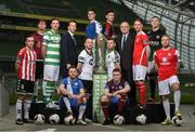 14 February 2017; Players, from left to right, Aaron McEneff, Derry City, Colm Horgan, Galway United, Ronan Finn, Shamrock Rovers, Johnny Barrett, Finn Harps, Stephen O'Donnell, Dundalk FC, Dave O'Connor, Limerick FC, Dinny Corcoran, Bohemian FC, Steven Beattie, Cork City, Richard Purdy, Drogheda United, Ian Bermingham, St. Patrick's Athletic, Conor Kenna, Bray Wanderers and Craig Rodden, Sligo Rovers, with Ronan Brady, Head of Marketing SSE Airtricity and Fran Gavin, Competition Director, Football Association of Ireland, in attendance at the SSE Airtricity League Launch 2017 at the Aviva Stadium in Lansdowne Road in Dublin. Photo by David Maher/Sportsfile