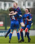 14 February 2017; Phoenix Mulcaire Shire, left, of Coláiste na Trócaire Rathkeale celebrates with team-mate Eadaoin Lyons after scoring her side's second goal during the Bank of Ireland FAI Schools Senior Girls National Cup Final match between Sacred Heart School Westport and Coláiste na Trócaire Rathkeale at Home Farm FC in Whitehall, Dublin.  Photo by Cody Glenn/Sportsfile